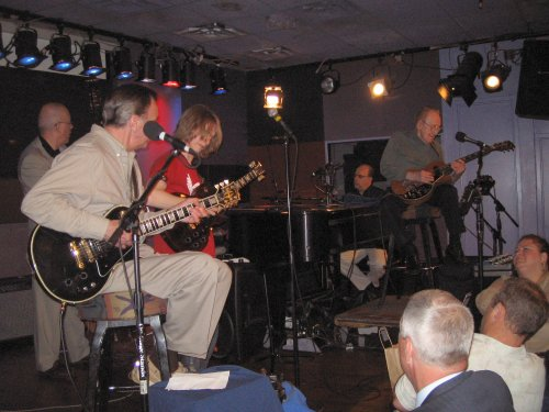 Carl Palmer Band guitarist Paul Bielatowicz performs onstage with Les Paul & His Trio. July 5th, 2006 at the Irdium in New York City.