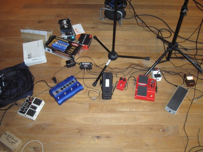 Setting up my pedals for rehearsals